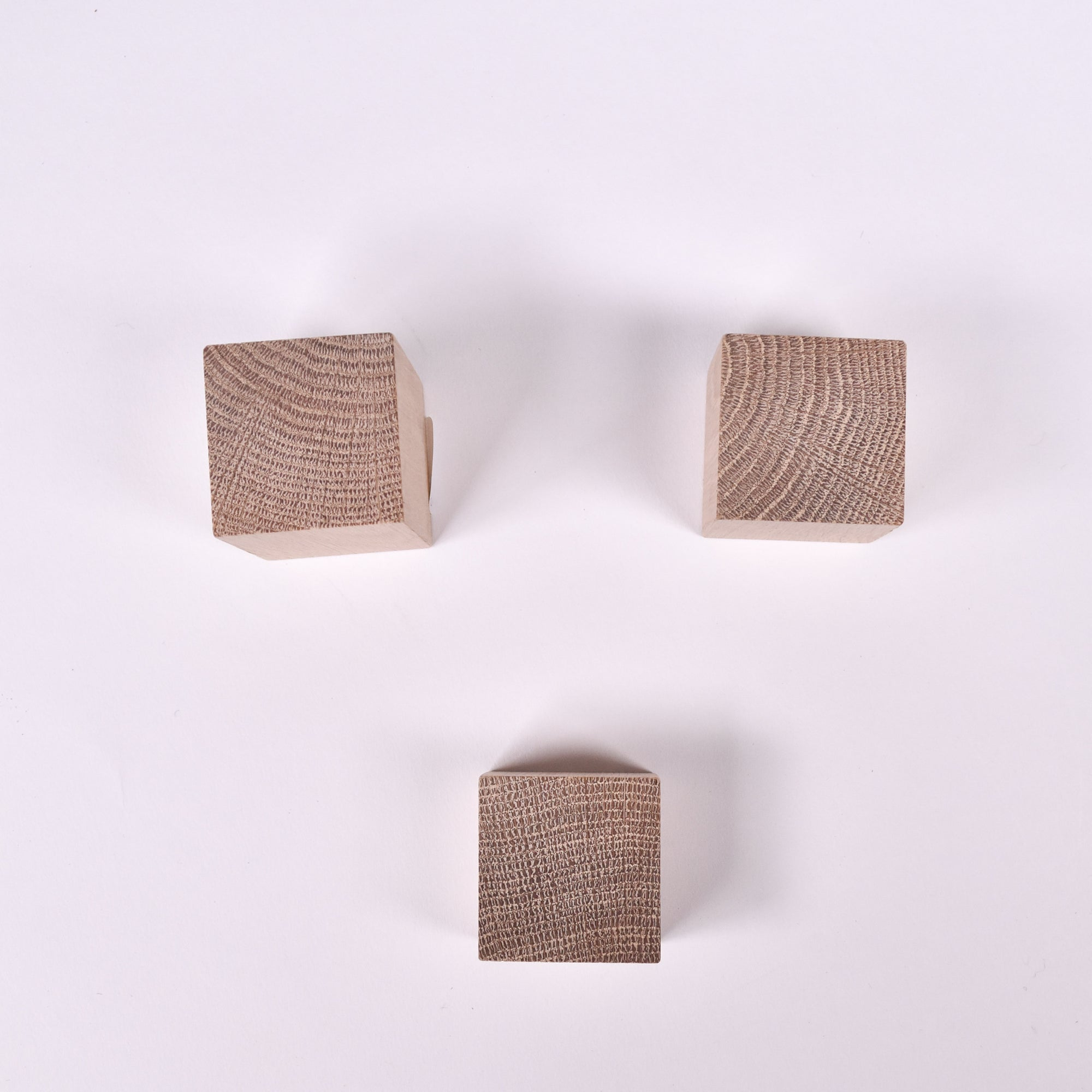Square White Oak Wall Knob Set of 3