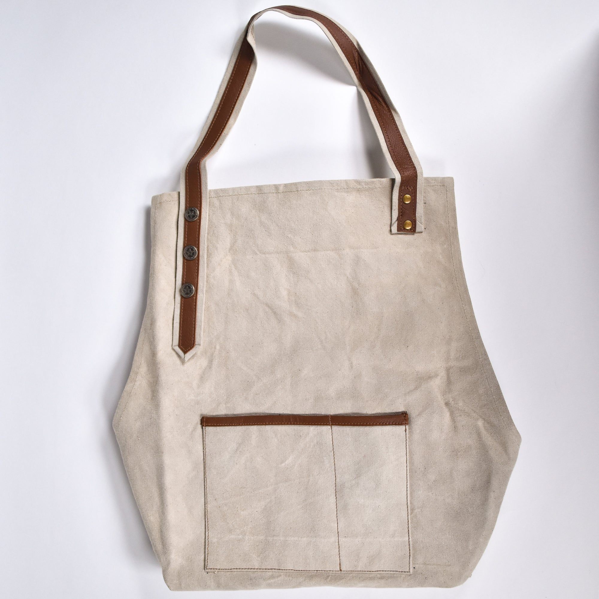 Canvas and Leather Natural Apron - Rug & Weave