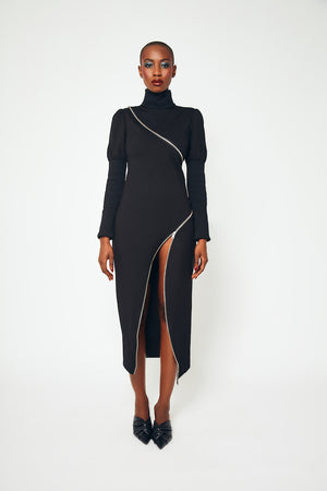 aŠady Asymmetrical Zipper Dress