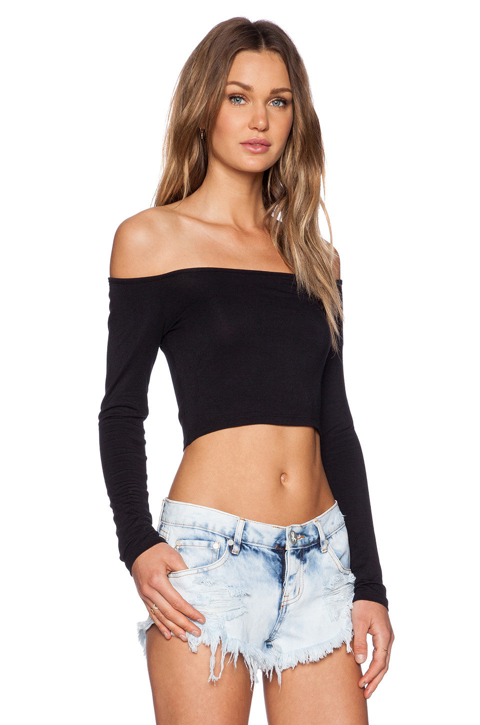 Brush Off-The-Shoulder Crop Top