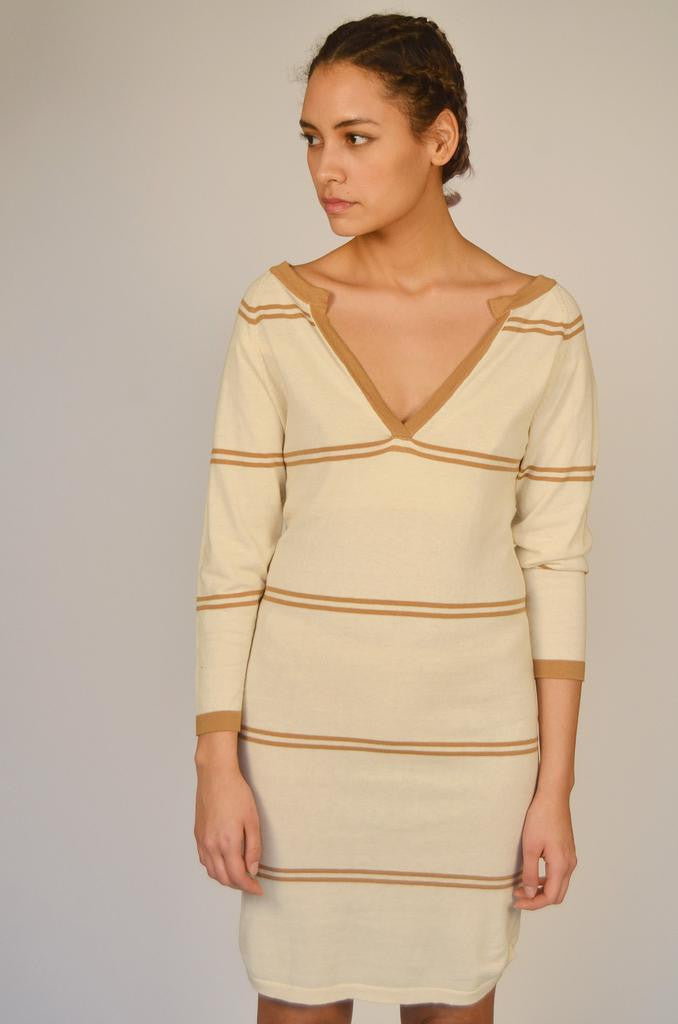 Stripe V Neck Dress