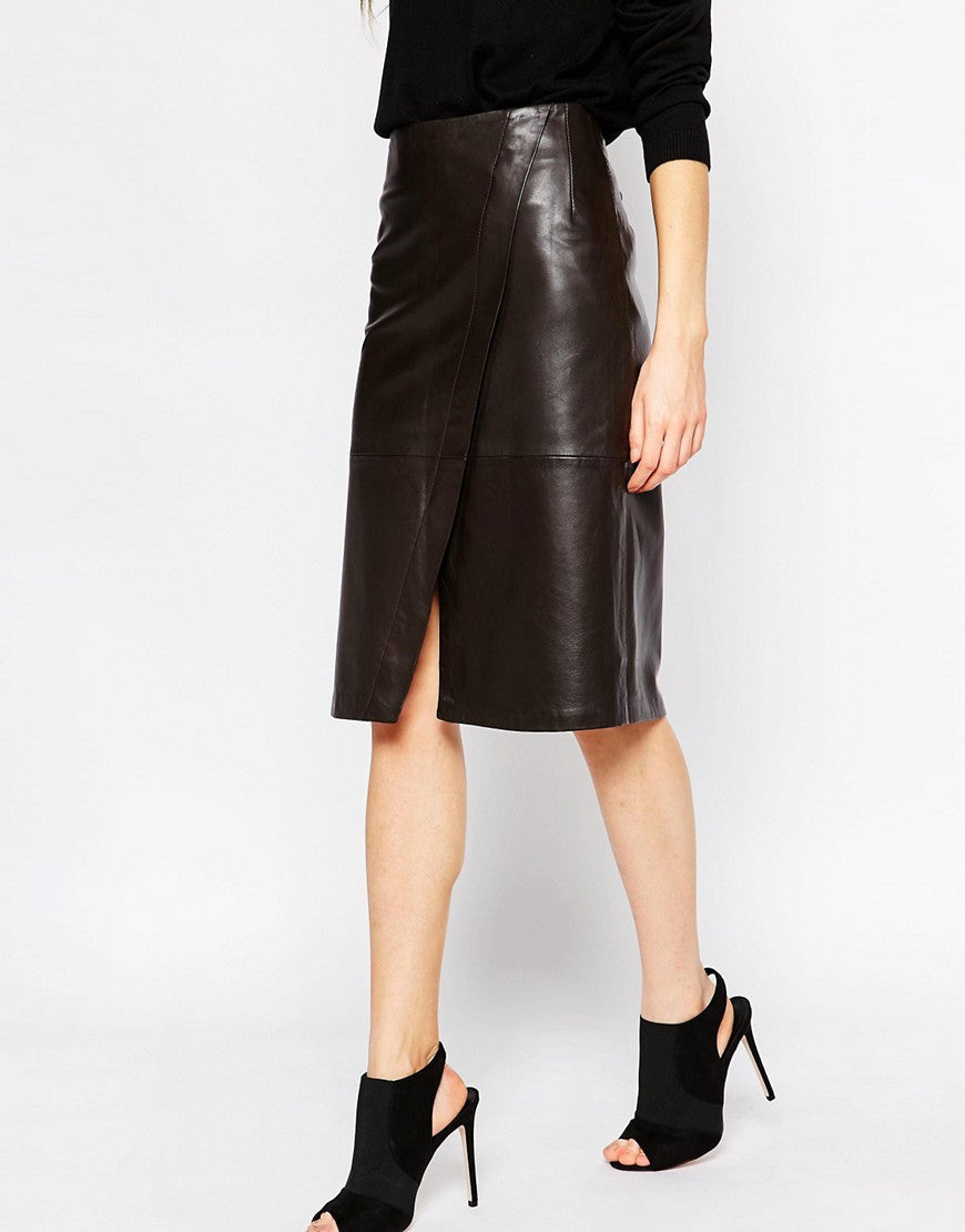 Jenna Wrap Leather Skirt