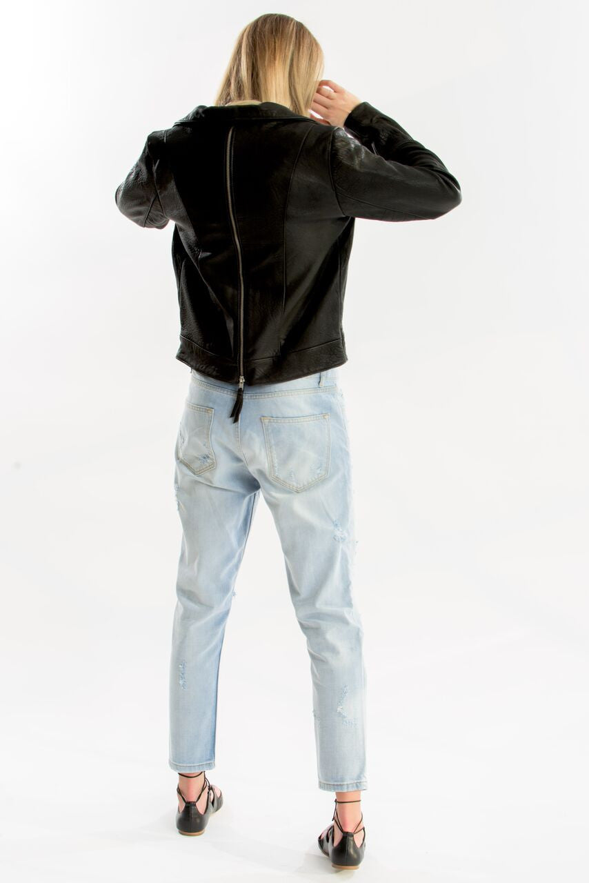 Came Saw Conquered Zip Leather Jacket