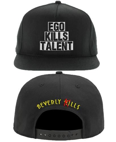 Beverly Kills Ego Kills Talent puff embroidered on front of snap back hat