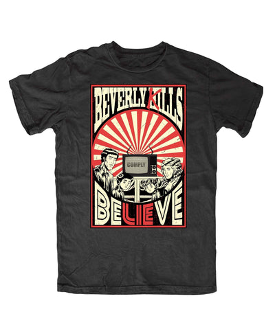 Believe, Obey, and Comply mind control design on this black Beverly Kills Hollywood streetwear Shirt