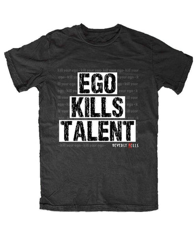 Beverly Kills Men's Black Soft Cotton Short Sleeve Shirt with Ego Kills Talent on the front- Los Angeles streetwear - Beverly Hills California