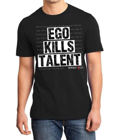 Beverly Kills Mens Black Soft Cotton fitted premium Short Sleeve Shirt with Ego Kills Talent on the front - Los Angeles edgy streetwear- Beverly Hills shirt