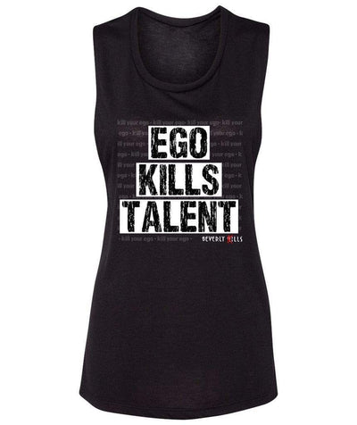 Beverly Kills Womens Black Soft relaxed fit Muscle Tank with Ego Kills Talent on the front - Los Angeles edgy streetwear - Beverly Hills California