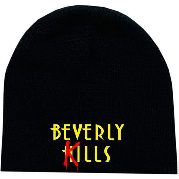 Beverly Kills embroidered Hollywood logo on premium edgy streetwear skull cap beanie