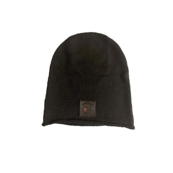 Faux Leather Black Logo| Beanie