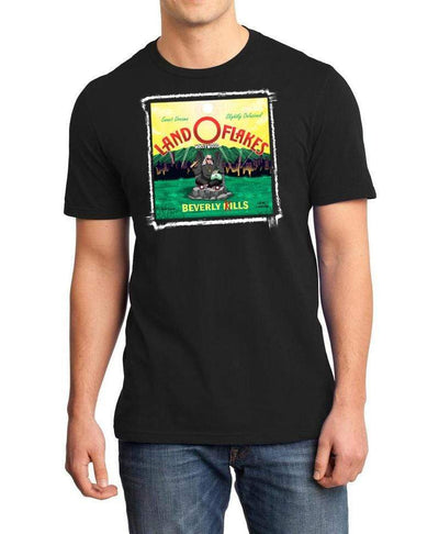 Land O Flakes design on mens black Beverly Kills Los Angeles streetwear Shirt
