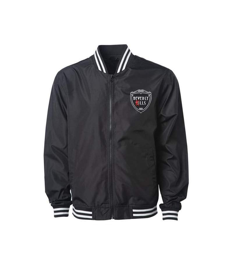 Rubber Logo sewn on mens black and white Beverly Kills Los Angeles streetwear varsity bomber jacket