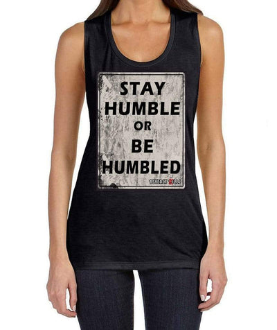 Stay Humble or Be Humbled design on womens black Beverly Kills Los Angeles streetwear johnny depp muscle tank