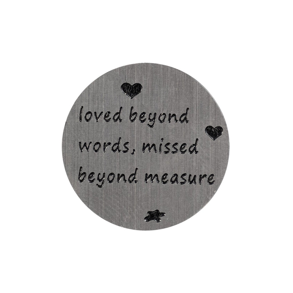 Back plate for use with medium Memory Lockets - 'Loved beyond words, missed beyond measure' - Your Locket