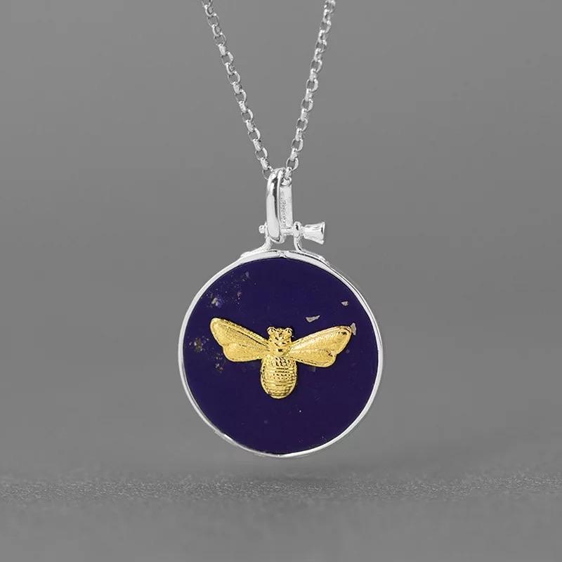 Bee on Blue - Sterling Silver with Gold Plating and Lapis Lazuli - Your Locket