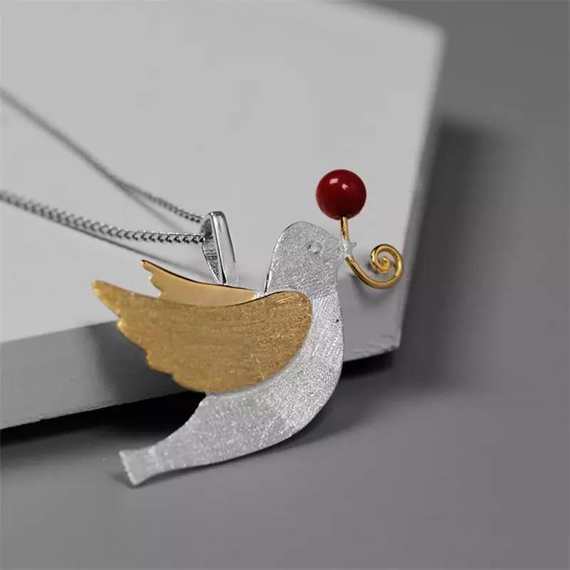 Cherry Bird - Sterling Silver with Gold Plating and Coral