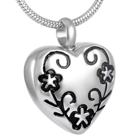 Cremation Locket - Silver Flower Heart