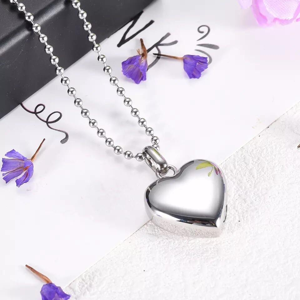 Cremation Locket - Silver Heart
