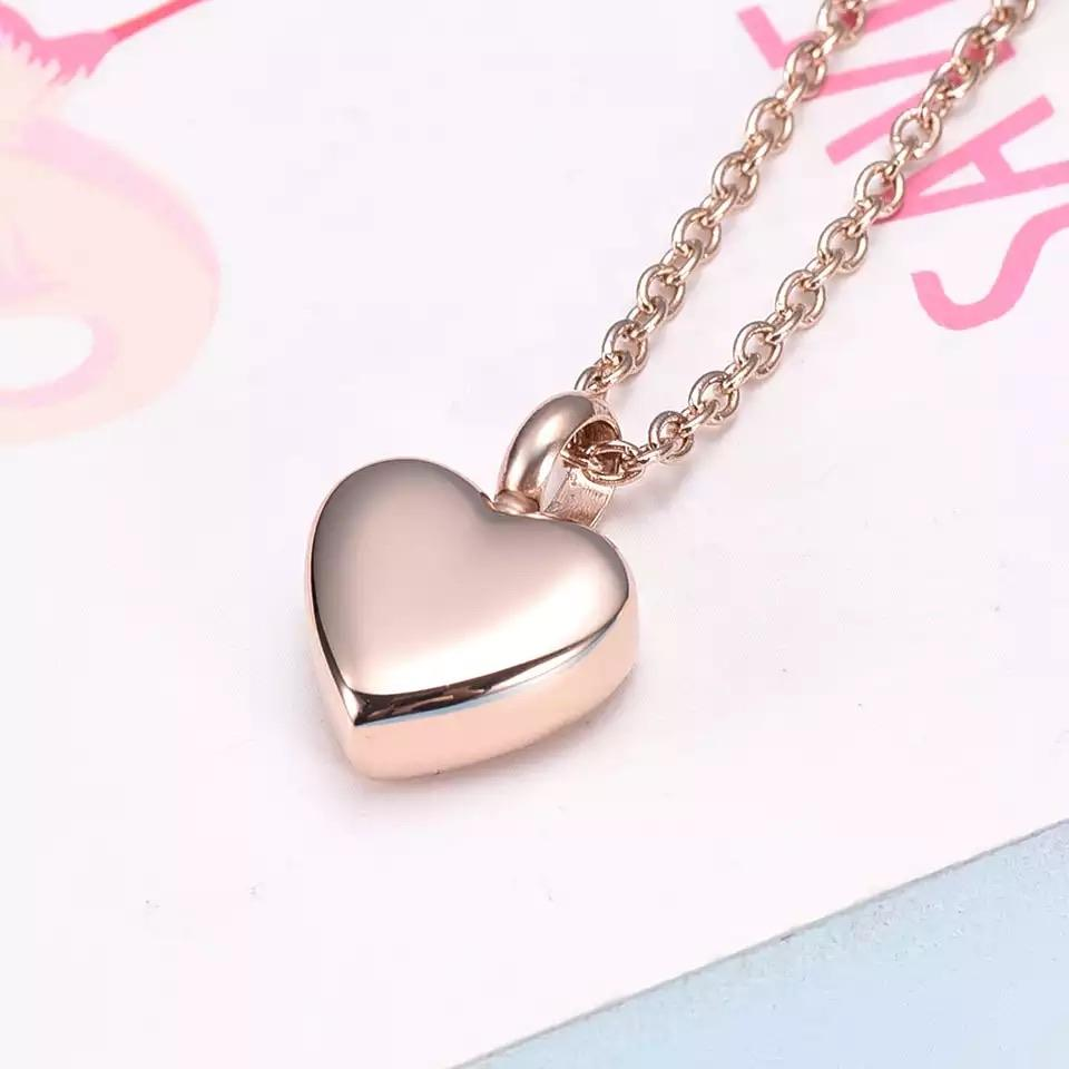 Cremation Locket - Simple Heart (Rose Gold)
