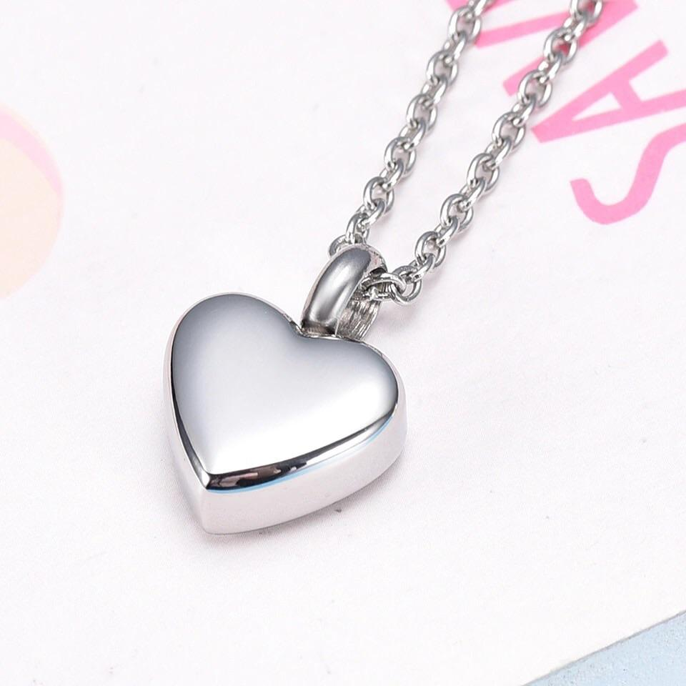 Cremation Locket - Simple Heart (Silver)