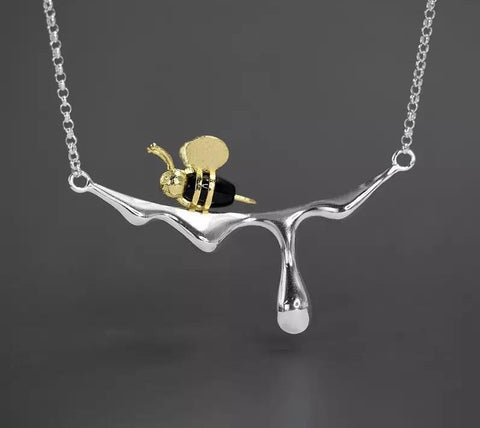 Honey Bee - Sterling Silver and Black Agate