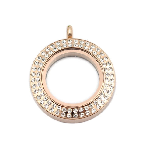 Medium charm locket with rose-gold plating and double crystal surround