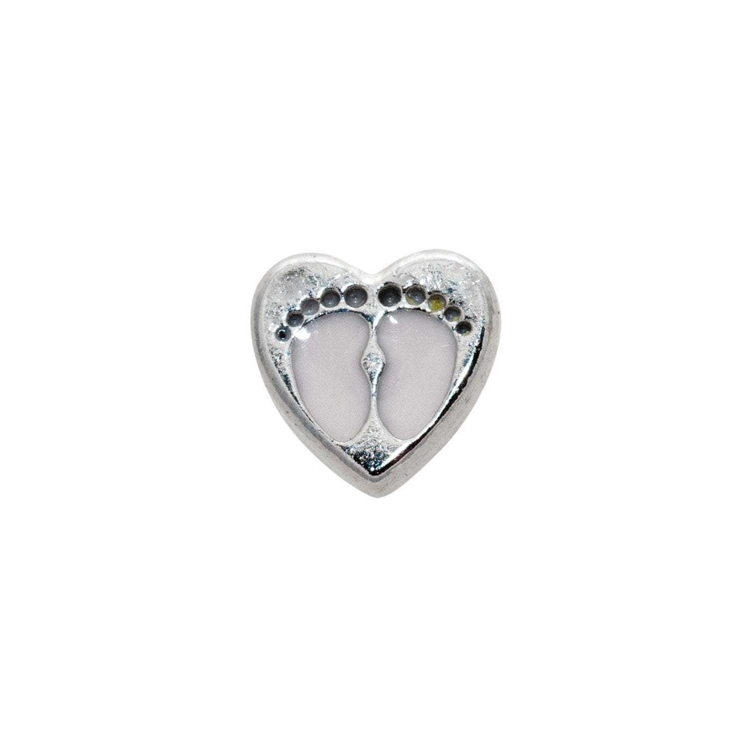 Memory Locket Charm - Baby feet (pink)