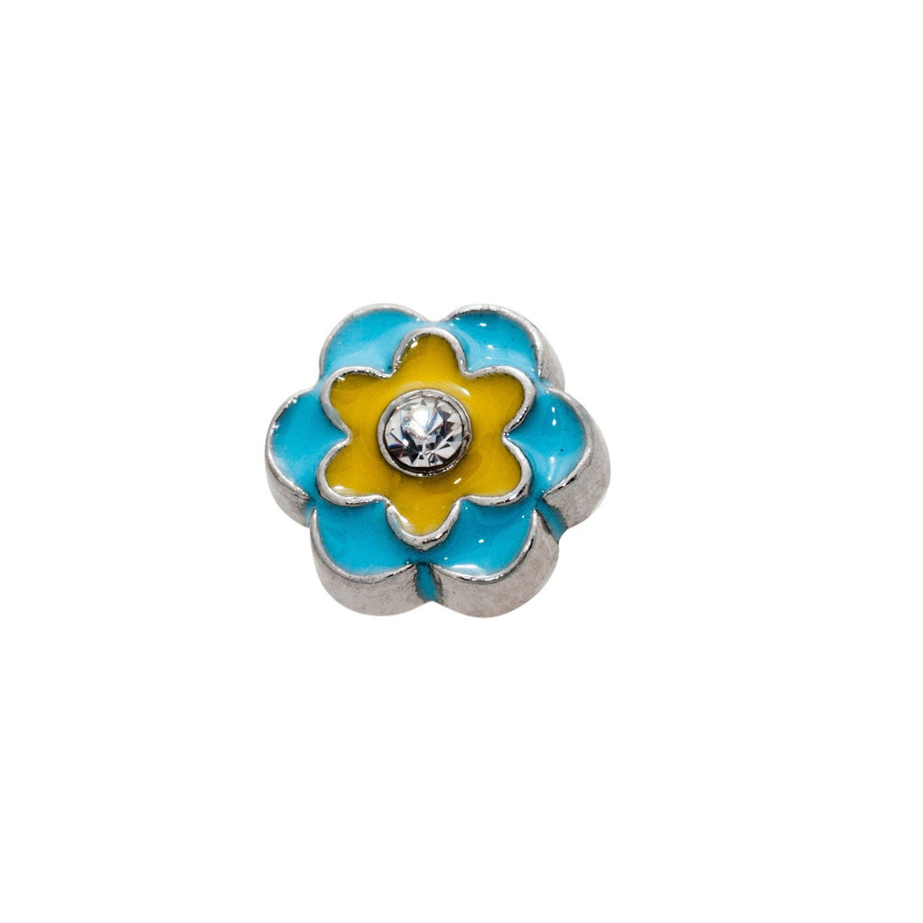 Memory Locket Charm - Blue/yellow flower - Your Locket