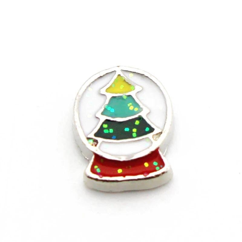 Memory Locket Charm - Christmas snow globe