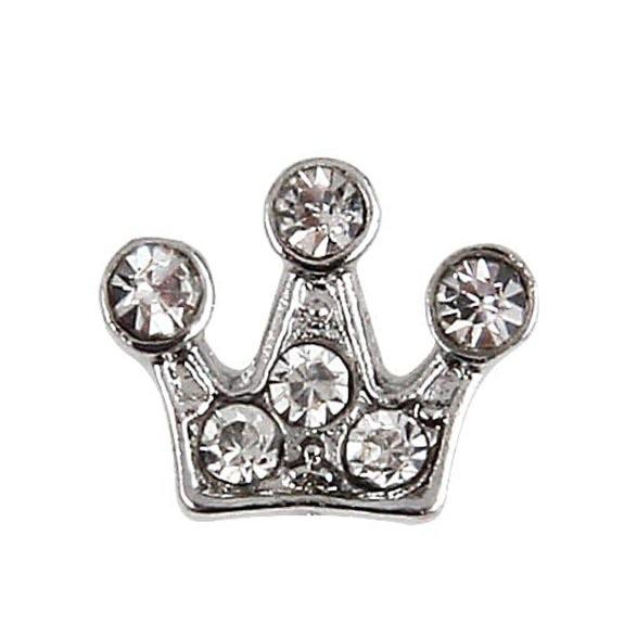Memory Locket Charm - Crown Silver