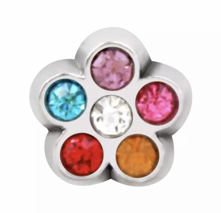 Memory Locket Charm - Crystal Flower Colourful - Your Locket