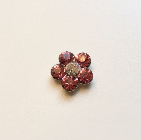 Memory Locket Charm - Crystal flower (pink)