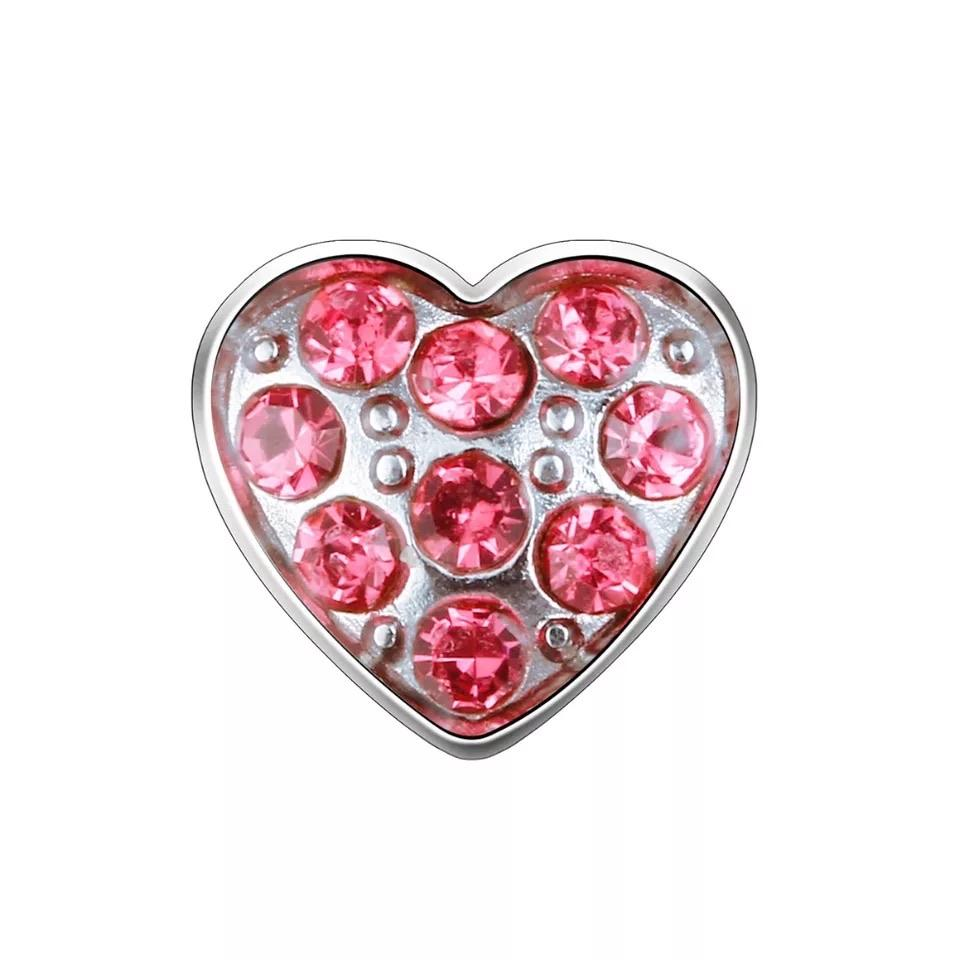 Memory Locket Charm - Crystal heart pink
