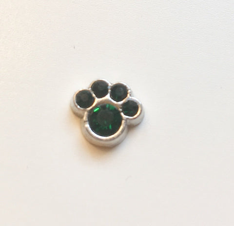 Memory Locket Charm - Crystal paw (green)
