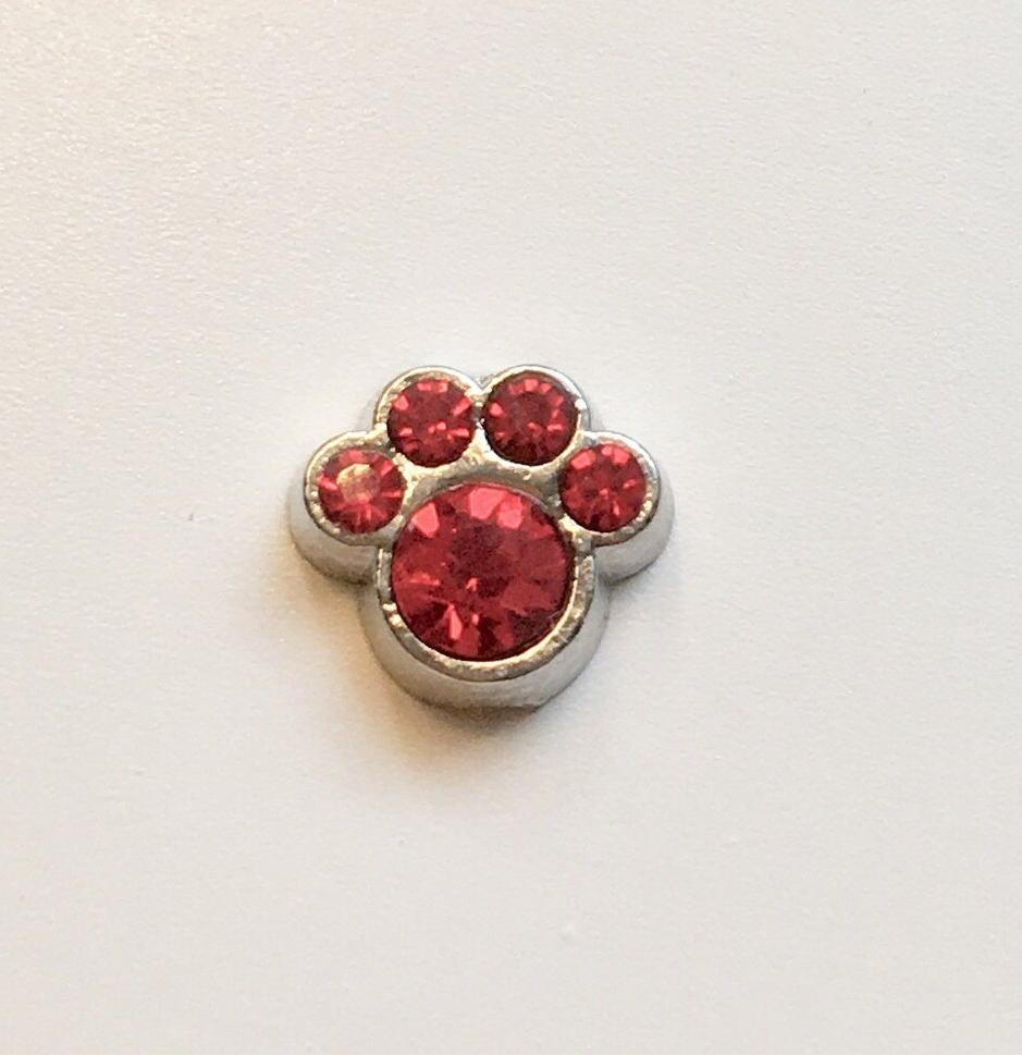 Memory Locket Charm - Crystal paw (red) - Your Locket
