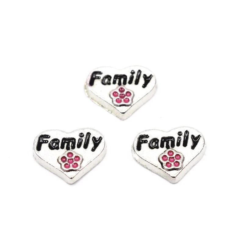 Memory Locket Charm - Family heart with flower