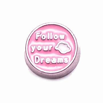 Memory Locket Charm - Follow Your Dreams (pink)