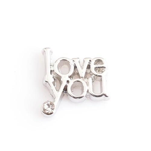 Memory Locket Charm - Love you (with crystal)