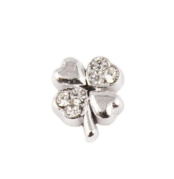 Memory Locket Charm - Lucky clover silver