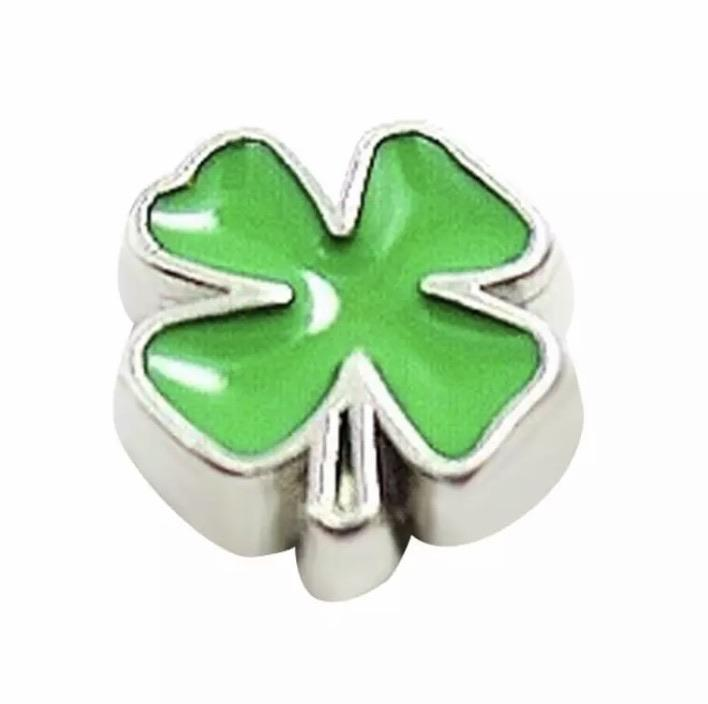 Memory Locket Charm - Lucky green clover