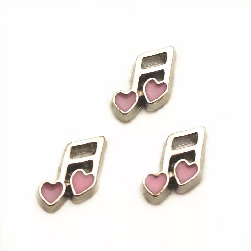 Memory Locket Charm - Musical Note Pink