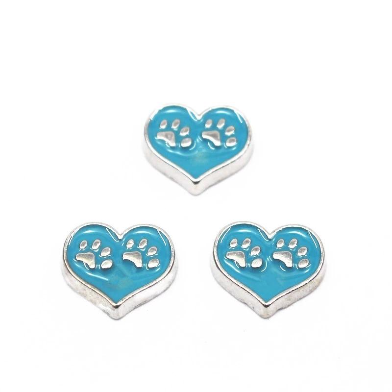 Memory Locket Charm - Paw prints heart (blue) - Your Locket