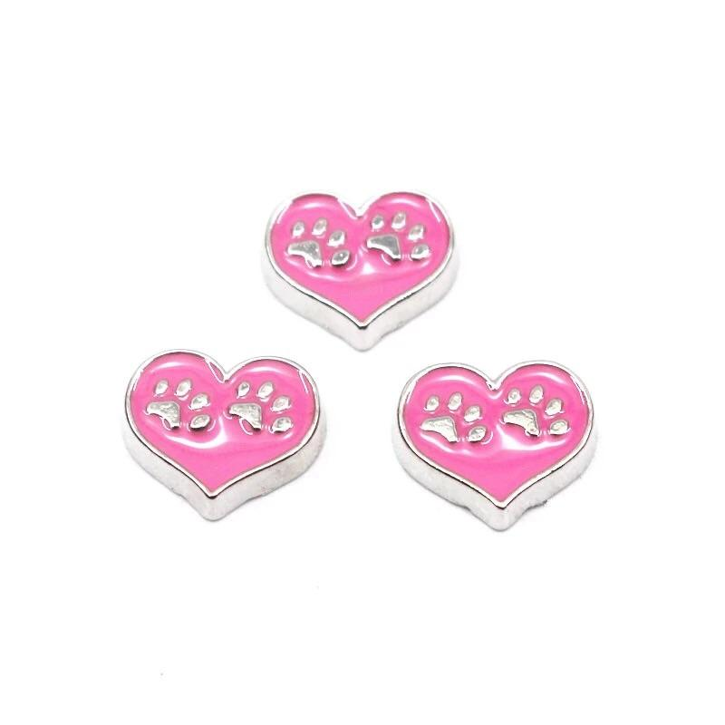Memory Locket Charm - Paw prints heart (pink) - Your Locket