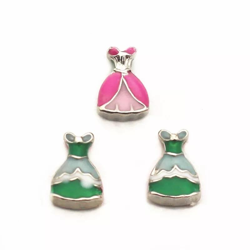 Memory Locket Charm - Princess Dress Green