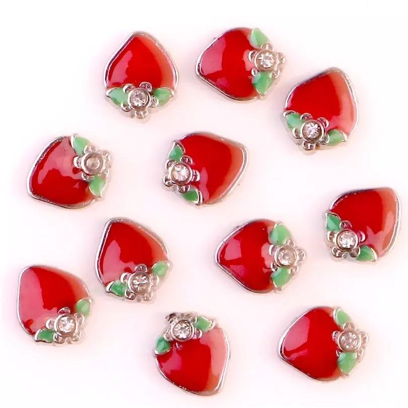 Memory Locket Charm - Strawberry with Crystal