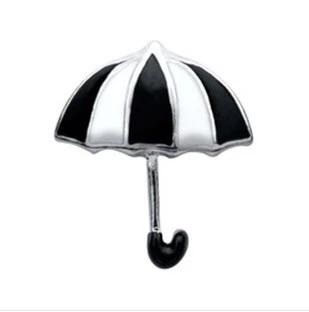 Memory Locket Charm - Umbrella (black and white)