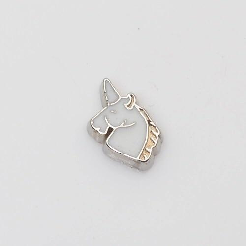 Memory Locket Charm - Unicorn (white)