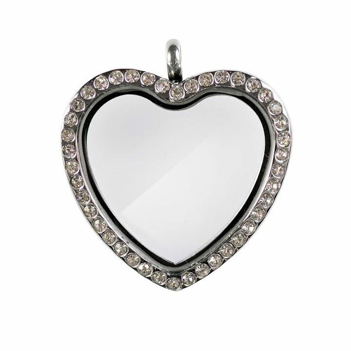 Memory Locket Heart Silver Crystal