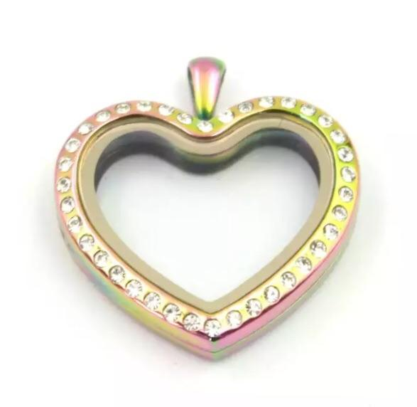 Memory Locket Rainbow Crystal Heart