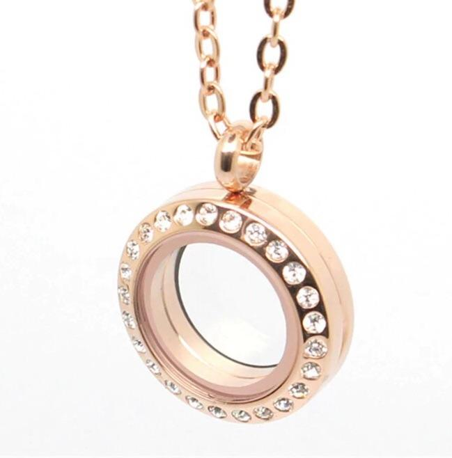 Memory Locket Rose Gold Crystal - Small